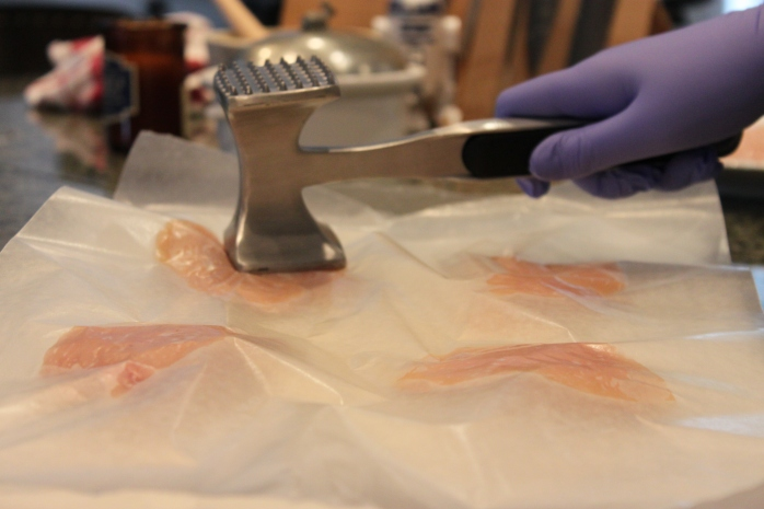Flattening chicken cutlets