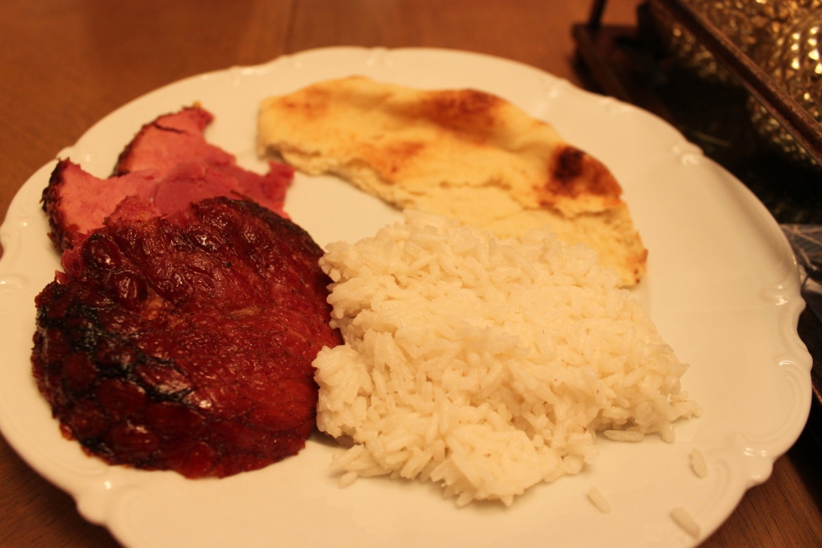 Glazed Ham with rice and naan