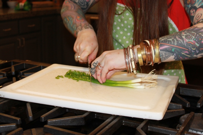 chopping green onions