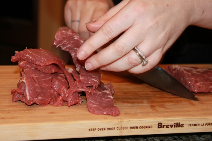 slicing chilled beef