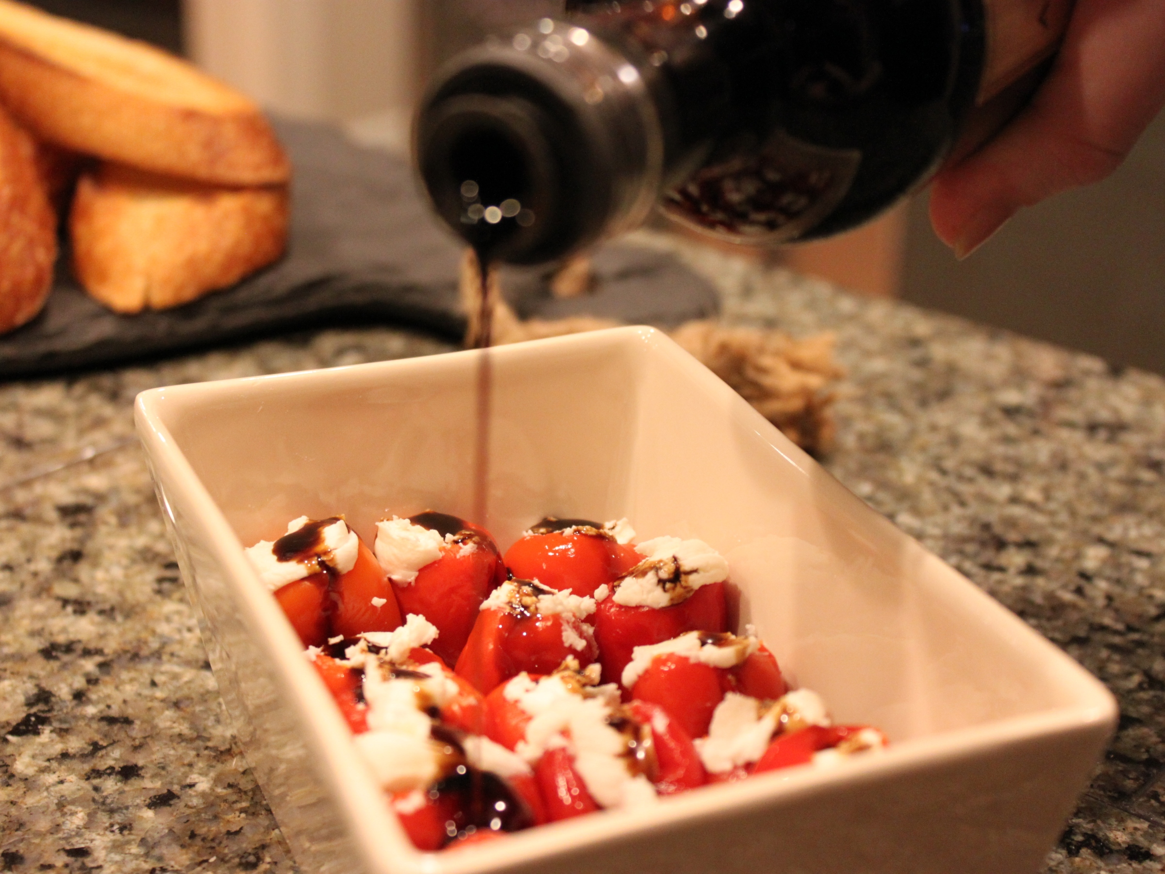 Stuffed peppadews with aged balsamic vinegar