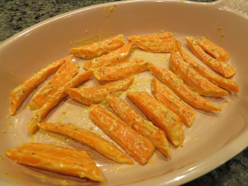 carrots arranged in roasting dish