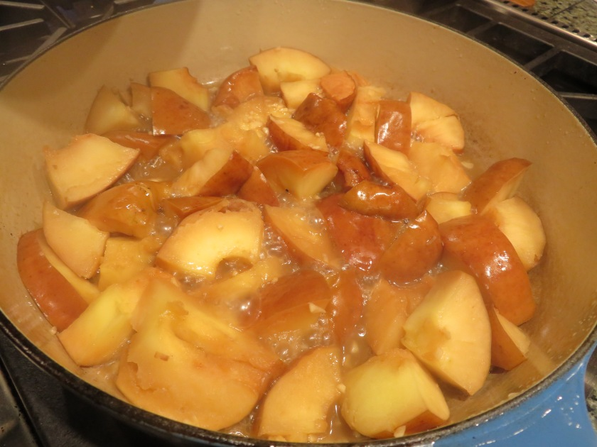 cooking apples down in broth