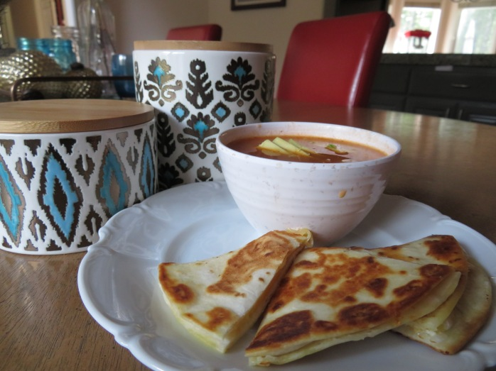mexican grilled cheese chicken tortilla soup and quesadillas