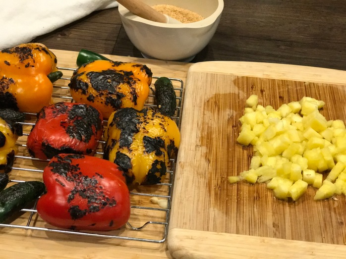 charred peppers and pineapple