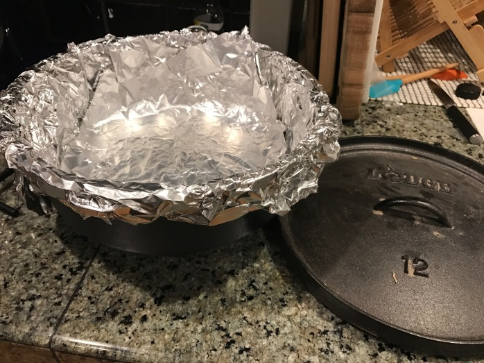 dutch oven covered in foil